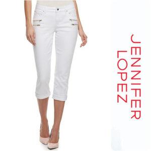 JLO White Zipper Accent Capri Jeans Size 8 NWT